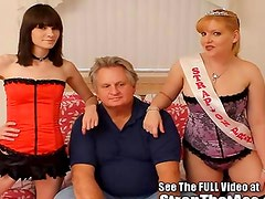 Hot Strap-On Princesses Pegging A Lil Bitch Of A Dirty Old Man
