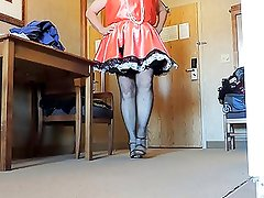 Sissy Ray in Satin Maids Dress and Black Fishnet Stockings