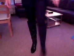 Crossdresser pose for Webcam in Knee Boots and in Pantyhose