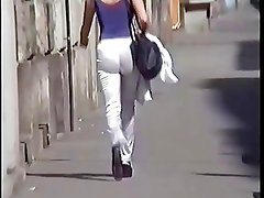 Amateur Girl in White Satin Pants (shiny leggings)