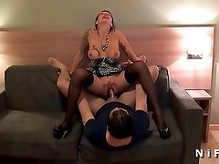 Busty french mature hard anal fucked by two guys