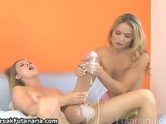 Hot blonde babe with a huge cock cuming