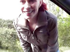 redhead hitchhiker gives blowjob to lucky guy