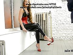 Latex catsuit legging & corset in public with high heels