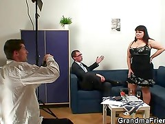 Old fatty takes two dicks after photosession