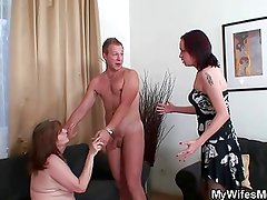 Mother-in-law rides young cock and wife comes in