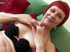 Old British redhead mother with small tits