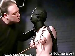 Slavegirl Cherry Torn hooded and pussy tortured in extreme