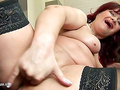 Dirty hot granny and her huge toys