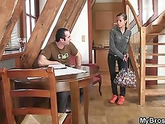 Slutty girl jumping on his brother's cock
