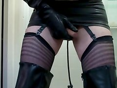 Thigh High Rubber Boots & Inflatable Butt Plug