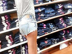 Tight Blonde in Cutoffs Shopping - Candid