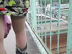 Chick in stockings and military boots upskirt