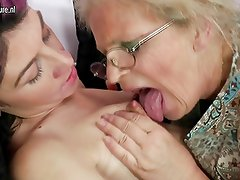 Old grandmother turns young girl into lesbian