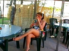 Tranny with big balls gets fucked outdoors