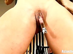 Aziani Iron buff chic uses clit pump on her big clit
