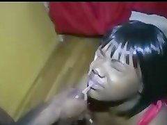 Huge Load facial on a ebony lady