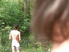 Hunky guy plowing twink mouth and booty outdoors