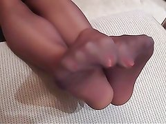 chocolate nylon feet orange toes