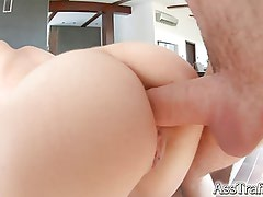 Honey Sweet's 18 year old ass is fucked in first porn