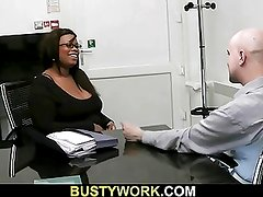 Ebony plumper gets doggystyle at work