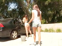 Celeste Star Helps Sinn Sage Wash Car