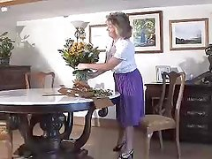 Adorable Granny Wearing Purple Girdle And Seamed Stockings