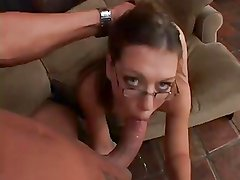 Sexy Slut With Glasses Takes A Huge Load In Her Mouth