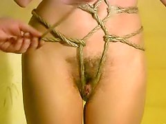 Slender girl in sexy rope bondage