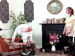 2 Mistresses beat slave with a dressage whip