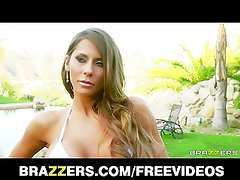 Madison Ivy challenges Alektra Blue to take a whole strap-on