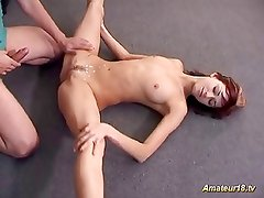Flexible beauty gets pounded raw in odd positions fuck