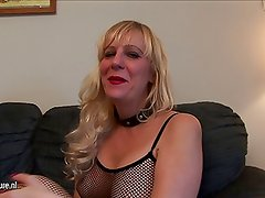 American housewife at fishnet dress loves to get wet