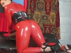 red latex catsuit & corset