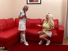 Big breasted babe lezzed up by her coach