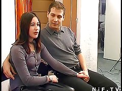 Young french couple having sex in our office
