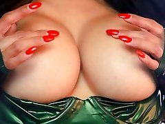 Latina latex swimsuit plays with dildo