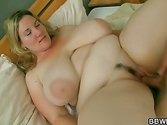She pleases his with huge tits and fat pussy