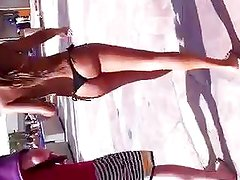 Black Thong Bikini  Walking