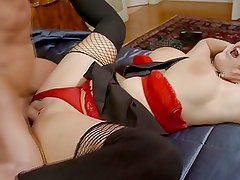 British slut Emma fucked in fishnet stockings