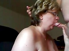 Mature woman sucks dick and gets cum on her tits