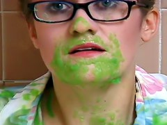 Dumping colored goo on her in hotel bathroom