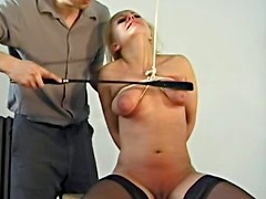 Natural breasts girl in stockings abused