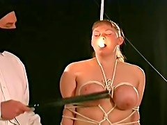 Chubby girl in rope bondage