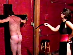 Hairy guy flogged by his mistress