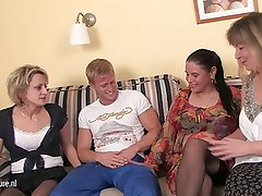 Three party mamas fuck one young cock