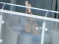 Upskirt Voyeur Girl on Balcony