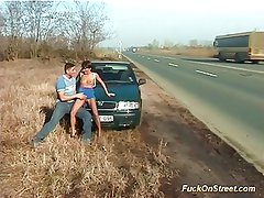 Fuck on streets babes gets wet cumshot on the highway