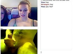 Webcam reaction of a cute teen and her friend