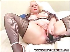 Pierced and tattooed BBW blonde fucked in all holes